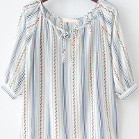 White Knotted Collar Pinstripe Floral Blouse