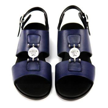 Versace Boys Navy Leather Sandals
