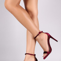 Qupid Velvet Open Toe Heel
