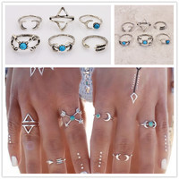 antique silver plated turquoise moon arrow finger ring set