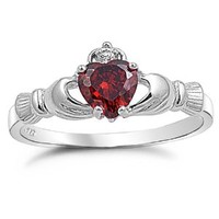 Heart Shaped Simulated Red Garnet Sterling Silver Claddagh Ring