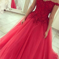 A Line Lace Prom Dress Red Lace Evening Dresses Formal Dress