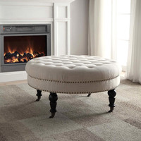 Linon Isabelle Natural Round Tufted Ottoman