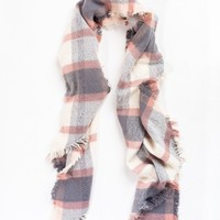 Mona Grey/Pink Plaid Scarf