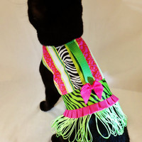 CoolCats Lime & Hot Pink Animal Print Fringed Cat Harness