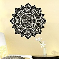 Wall Decal Mandala Vinyl Sticker Decals Lotus Flower Yoga Namaste Indian Ornament Moroccan Patern Om Home Decor Art Bedroom Design Interior C176