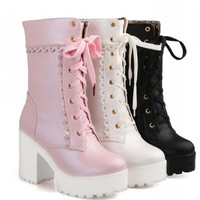 Lolita pink white lace up high heel student shoes sweet lady cosplay platform chunky block mid calf short  boots 43