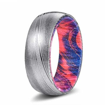 DEO Brushed Damascus Steel Ring with Red & Blue Box Elder Wood Sleeve 8mm