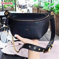 Givenchy Fashion New Solid Color High Quality Shopping Leisure Shoulder Bag Waist Bag Bust Bag Women Black