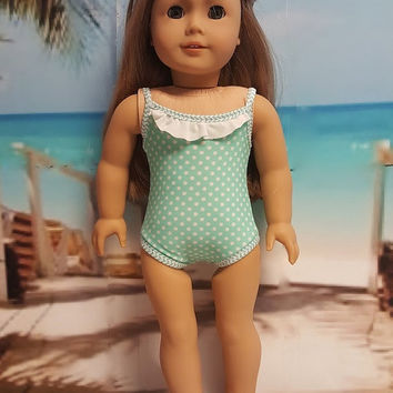 """Contemporary 18 inch doll clothes """"Tiny Dots"""" Will fit American Girl® Swimsuit bathing suit beach Liberty Jane Pattern E3"""