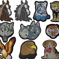 1pc/Tiger Wolf Eagle Horse Dog Cat Head Patches For Clothing Iron On Embroidered Appliques DIY Apparel Accessories Patches