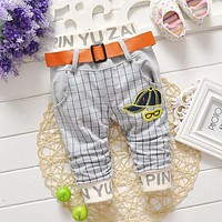 2017 New Fashion Spring Autumn Baby Kids Children Boys Babi Casual Plaid Checked Letter Belt Long Pants Full Length Trousers