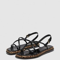 STRAPPY SANDALS WITH LEOPARD PRINT DETAILDETAILS