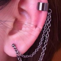 A-Pair of Black Ear Cuffs-Cartilage to Lobe Chain Earring Ear Cuff with Stud Earrings