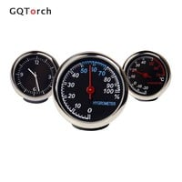 Car Thermometer Hygrometer Quartz Clock For Dashboard Ornament Abs Case High And Low Temperature Resistence Automobile Clock