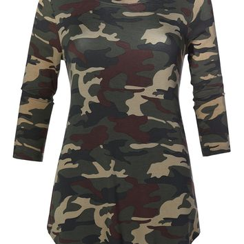 Casual Loose Fit Round Neck 3/4 Sleeve Camouflage Print Stretch Tunic Top (CLEARANCE)