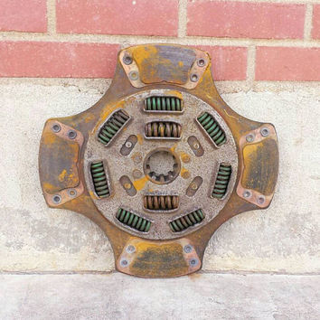 """Salvaged Clutch Plate 15"""" Disk Rusty Industrial Spring Coil Engine Steampunk Mechanical Scrap Metal Art Wall Hanging Assemblage Lamp Supply"""