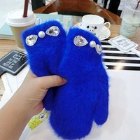 2017 women  winter glove Fashion Pearl with crystal Rabbit Fur Gloves Girl winter outdoor mittens 6 Color