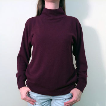 1990s Turtleneck Sweater/Vintage Purple Sweater