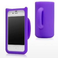 Purple 3D Coffee Cute Mug Silicone Stand Case Cover Skin for Apple iPhone 4 4G 4S+Gift 1pcs Insect Mosquito Repellent Wrist Bands bracelet