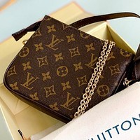 LV Fashion New Letter Print Monogram Leather Chain Shoulder Bag Crossbody Bag Coffee