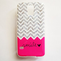 Samsung Galaxy S5 Quote Smile Case Soft Plastic Pink Galaxy S5 Back Cover Cute Samsung S5 Cover