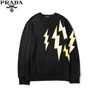 PRADA 2019 new front and rear lightning printing logo round neck sweater Black
