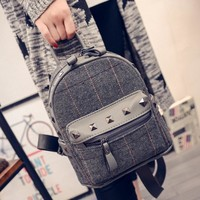 Comfort Stylish Casual Hot Deal On Sale Back To School College Ladies Winter Korean Rivet Simple Design Mini Backpack [6582886343]