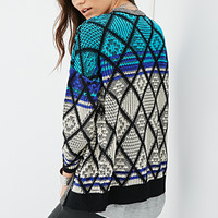 FOREVER 21 Diamond-Patterned Two-Tone Cardigan