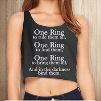 The Lord of the Rings One Ring Women Crop Tanktop - tri1 Crop Tanktop For Women  / Custom - Crop Tanktop