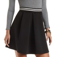 Quilted Skater Skirt with Pleats by Charlotte Russe - Black