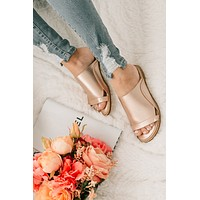 Can't Walk Away Faux Leather Slides (Rose Gold)