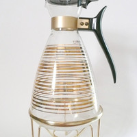 Atomic Pyrex Glass Coffee Carafe with Metal Warming Stand