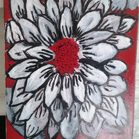 "Orginal Abstract Art Oil/Acrylic Painting Handmade on Wrapped Canvas w/Wood Framing 16x20"" ""White Flower"""