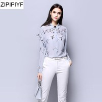 2018 Spring Vintage Women Silk blouses Chiffon Long Sleeve Cartoon Print Blouse Shirt Plus Size Tops Turn-down Collar VXR111