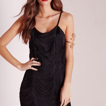 Missguided - Fringe Drape Bodycon Dress Black