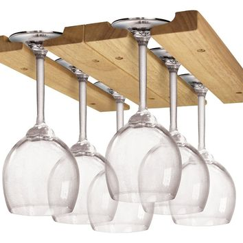 Fox Run Hardwood Wine Glass Holder Under Cabinet Hanger Rack
