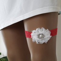 white flower,red, garter, toss garters,   lace,   wedding garters,    bridal accessores, handmade,  garter suspander,    free shipping!