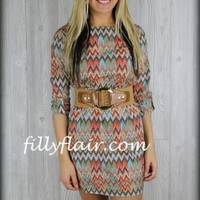 New Years Resolution chevron belted dress: Filly Flair