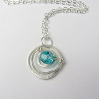 Silver Spiral Necklace, Hammered Silver Necklace