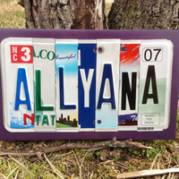 Kid's Room Personalized Custom Recycled LICENSE Plate Sign Childs Name Wall Decor child's