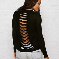 Don't Ask Why Ladder-Back Sweater, Black