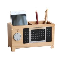Office Pen Holder With Calendar Wooden Pen Pot Desk Week Organizer Pencil Stand Korean Fantastic Square Style Pen Stands Day