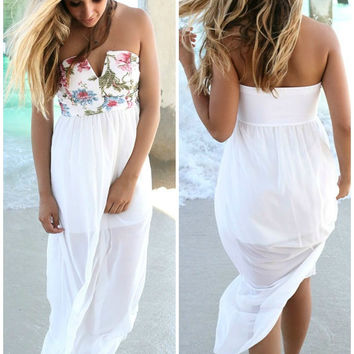 St. Lucia Floral Print Tube Top Ivory Maxi Dress