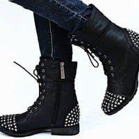 New Womens BG28 Black Studded Spike Mid Calf Military Combat Boots Sz 6 to 11