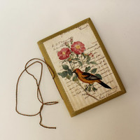 Hand-Stitched Notebook Journal Travel diary Vintage Style Birds and Scripts Writing Diary Handmade Notebook Bahi Khata
