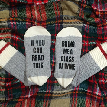 Wine Socks | Bring Me Wine | If You Can Read This Bring Me Wine | Christmas Gift | Stocking Stuffer | Funny Gift | Humor Gift | Wine Gift