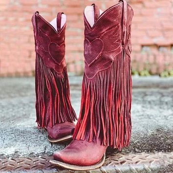 Retro Middle Heels Tassel Tall Boots