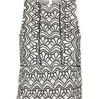 TALL Monochromatic Lace Shell Top - Clothing