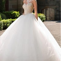 [208.99] Gorgeous Tulle High Collar Neckline Ball Gown Wedding Dresses with Beaded Embroidery - dressilyme.com
